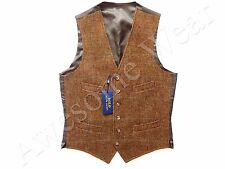 New Ralph Lauren Polo 100% Wool Beige Brown Plaid Vest SLIM 40 R