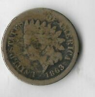 Rare Antique US 1863 Civil War Indian Head Penny Collection Cent Coin Lot:R40