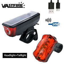 Bicycle Solar Powered USB Recharge Waterproof Horn Front Headlight Rear Lamp SET