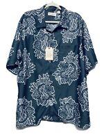 NEW Carribean Hawaiian Shirt Size XL Mens Floral Ukulele Blue