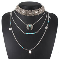 Retro Necklace Silver Turquoise Hippie Bohemian Ethnic Boho Festival Jewelry New