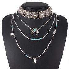 Retro Silver Turquoise Hippie Bohemian Necklace Ethnic Boho Festival Jewelry New