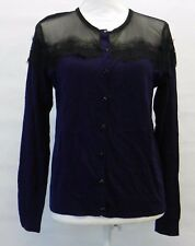 August Silk Black Sheer Lace Trim Illusion Cardigan Sweater Evening Blue XL $39