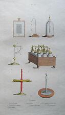 Gravure en couleur XIXè s. Instruments outils de mesure. Physique