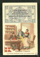 Denmark Danmark Banknote Money People Flag ca 1903