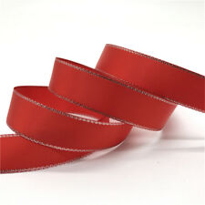 "5Yards 5/8"" 15mm Silver Metallic Edge Satin Ribbon Wedding Christmas Decoration"