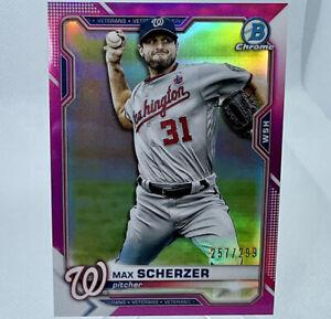 Max Scherzer 2021 Bowman Chrome Baseball #/299 Pink Refractor Card 77 Dodgers