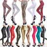 Women Latex Leggins PVC PU Leather Skinny Leather Ankle-length Stretchy Pants BB