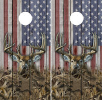 American Flag Deer Barnwood Cornhole Wrap Boards Decals Bag Toss Game Stickers