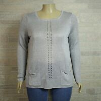 Holistia Misses XL Pullover Sweater Silver Gray Pointelle Linen Blend Pockets