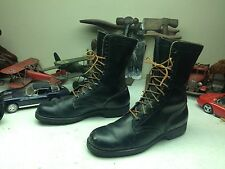 VINTAGE USA 1969 DISTRESSED BLACK LEATHER RO-SEARCH MILITARY COMBAT BOOTS 10 N