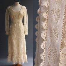 VTG 70s Entirely Crochet Lace Bohemian Hippie Wedding Maxi Dress Boho Cream M