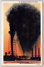 An Oil Gusher from a well in Oklahoma City, Oklahoma Linen Postcard Unused