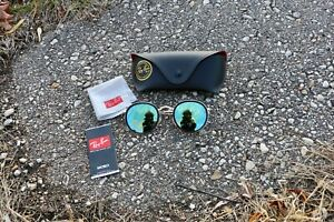 RAY BAN Sunglasses RB3447 001 ROUND METAL 50-21, Blue lens
