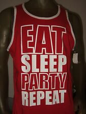 New Men's Size XL Eat Sleep Party Repeat Hybrid Apparel Graphic Tank Top Shirt