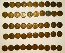 Roll of 50 Different Lincoln Wheat Pennies 1917-1958D with 1943 Steel