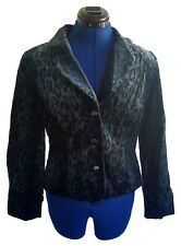Maggy London Womens Blazer Peacock Leopard Print Blue Green Black Velvet Jacket