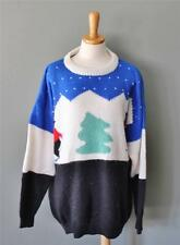 Vtg Yes Ugly Christmas Sweater Jumper Women Men 2XL xxl skier soft Tree CS23