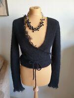 Sarah Pacini Womens Mohair and Merino Wool Cardigan S-M/8-12 Black ⚫ Great 👍