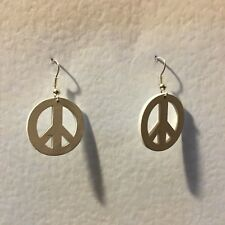 SMALL WHITE LASER CUT WOOD PEACE SYMBOL SILVER PLTED DROP EARRINGS hook FESTIVAL