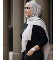 $80 Verona Women'S Dusty Cream Beige Fringed Lightweight Hijab Scarf One Size