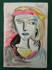 PABLO PICASSO      DRAWING WATERCOLOR ON VINTAGE PAPER OF THE 60s