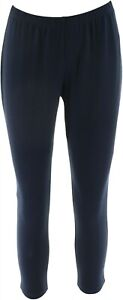 Women Control Fitted Waist Long Pull-On Leggings Hem Solid Navy PS # A235952
