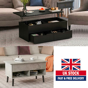 Wooden Lift Up Top Coffee Table Foldable Desk With Storage Drawer Living Room UK