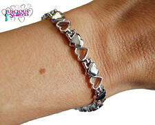 LADIES SUPER STRONG BIO MAGNETIC SILVER COLOURED ALLOY HEARTS HEALING BRACELET