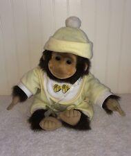"HoSung Baby Monkey Plush Pacifier Binky Yellow Pjs Hat 10"" Toy Orangutan 1994"