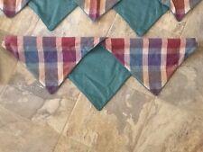 Set of 5 Custom Made 3 Plaid Valance Curtain Treatments w/ 2 Throw Pillows