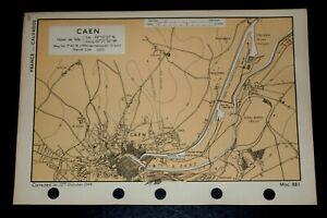 CAEN, France D-Day OVERLORD Near SWORD Beach - Rare Vintage WW2 Map 1944