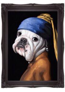 Girl With A Pearl Earring ART Print Poster Print Wall Art Bulldog Art Dog Art