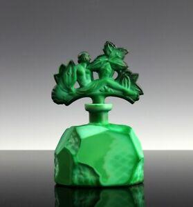 Art Deco Glass Malachite Nude Stopper Perfume Bottle 1930' H.Hoffmann
