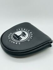 Pebble Beach Golf Links Black Leather Magnetic Mallet Putter Headcover Mint Rare