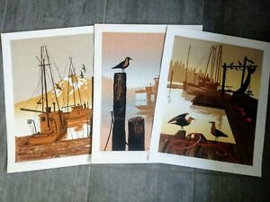 Set 3 Vintage Walton Butts Signed Pacific NW Harbor Serigraphs Never Framed