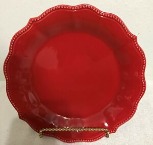 "Pioneer Woman 2 Salad Plates Paige Red Stoneware 8"" Scalloped Beaded Edge NEW"