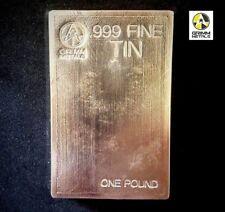 1 Pound .999 Fine Tin Bullion Stacker Bar - Hand Poured & Stamped - Grimm Metals