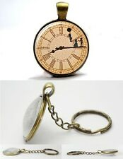 Peter Pan Clock - Vintage Antique Bronze Tone Photo Glass Dome Key Ring