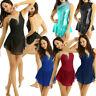 Womens Sleeveless Metallic Lyrical Contemporary Ballet Dance Wear Leotard Dress