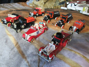 VINTAGE DIECAST BANKS, FIRETRUCK, FORD & CHEVY TRUCKS, MODEL A, 1930'S, LOT