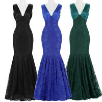 Elegant MERMAID Lace Long Formal Evening Dress Pageant Party Prom Gown Dresses N