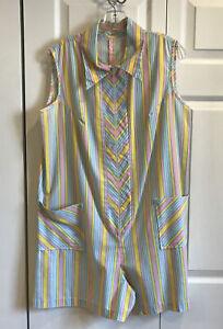 Vintage Handmade 70's Striped Romper Sleeveless Zip Cotton Yellow Pink Blue Sz L