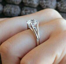 14K Yellow Gold 6 MM Round Moissanite Solitaire Split Shank Engagement Ring