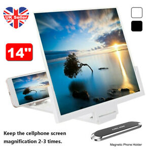 "14"" 3D Mobile Phone Screen Enlarge Magnifier HD Video Amplifier Bracket Stand UK"