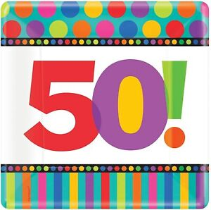 """50th Birthday Dots & Stripes Polka Over the Hill Party 10"""" Square Banquet Plates"""