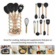 Silicone Cooking Kitchen Utensils Set with Stainless Steel Handles Copper