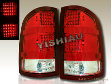 07 08 09 10 11 12 13 GMC SIERRA 1500 2500 RED /CLEAR LED L.E.D. TAIL LIGHTS PAIR