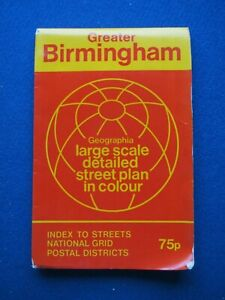 Geographia COLOUR Official Street Map - Birmingham  1973   Very Good Condition