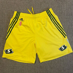 ADIDAS SEATTLE STORM AUTHENTIC WNBA GAME SHORTS YELLOW Size LARGE Revolution 30